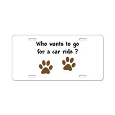 Paw Prints Dog Car Ride Aluminum License Plate