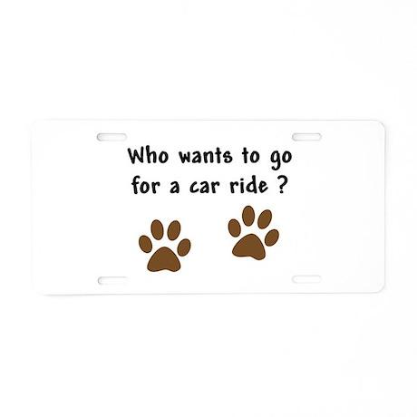 Paw Prints Dog Car Ride Aluminum License Plate