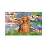 Lilies (2) & Doxie (LH-Sable) 35x21 Wall Decal