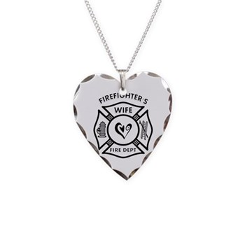 Firefighters Wife Heart Charm Necklace