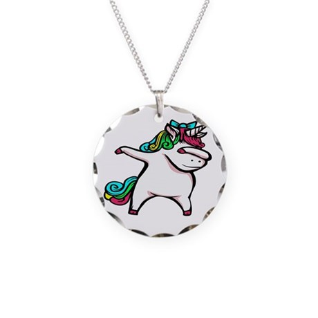 Dancing Unicorn Girl Necklace Circle Charm