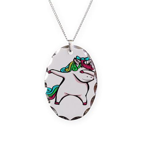 Dancing Unicorn Girl Necklace Oval Charm