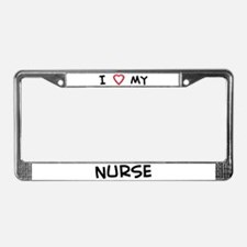 I Love Nurse License Plate Frame