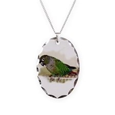 Greencheek Conure Necklace w/Oval Charm