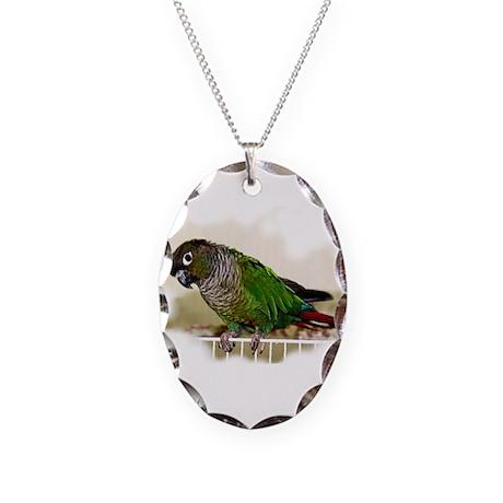 Greencheek Conure Necklace w/Oval Charm
