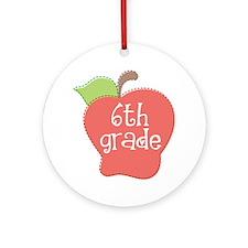 6th Grade Teacher Apple Ornament (Round)