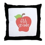 6th Grade Teacher Apple Throw Pillow