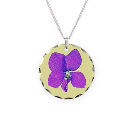 Violet Wildflower Necklace Circle Charm