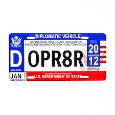 Afghanistan Diplomatic Vanity License Plate