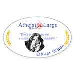 Oscar Wilde Quote Sin Stupidity Sticker (Oval)