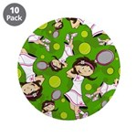 "Cute Tennis Girl Patterned 3.5"" Button (10 Pk"