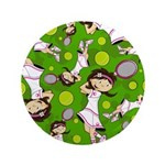 "Cute Tennis Girl Patterned 3.5"" Button"