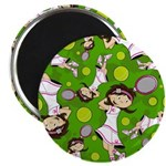 "Cute Tennis Girl Patterned 2.25"" Magnet (10 P"