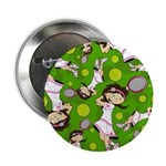 "Cute Tennis Girl Patterned 2.25"" Button"