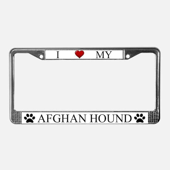 White I Love My Afghan Hound License Plate Frame