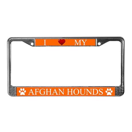 Orange I Love My Afghan Hounds License Plate Frame