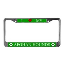 Green I Love My Afghan Hounds License Plate Frame