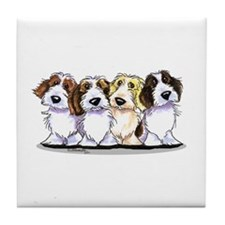 Four PBGV Tile Coaster