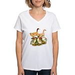 Buff Duck Family Women's V-Neck T-Shirt
