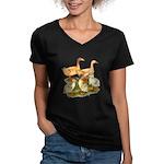 Buff Duck Family Women's V-Neck Dark T-Shirt