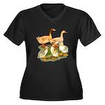 Buff Duck Family Women's Plus Size V-Neck Dark T-S