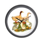 Buff Duck Family Wall Clock