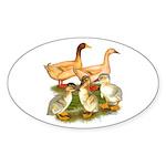 Buff Duck Family Sticker (Oval 50 pk)