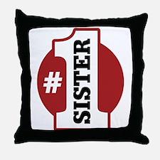 #1 Sister Throw Pillow