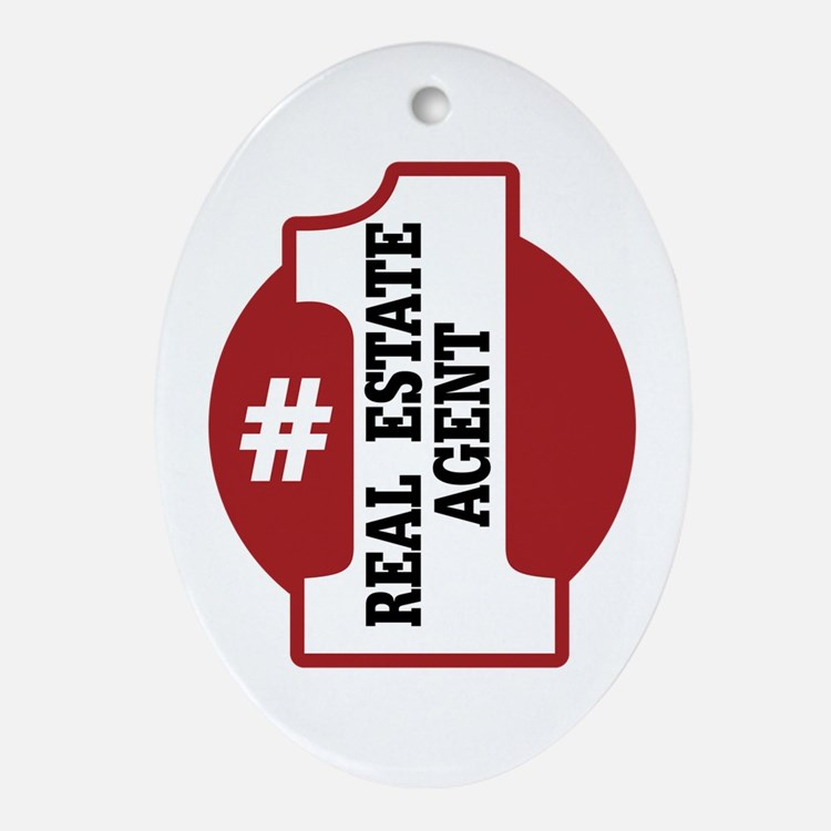 #1 Real Estate Agent Ornament (Oval)