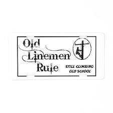 Old Linemen Aluminum License Plate