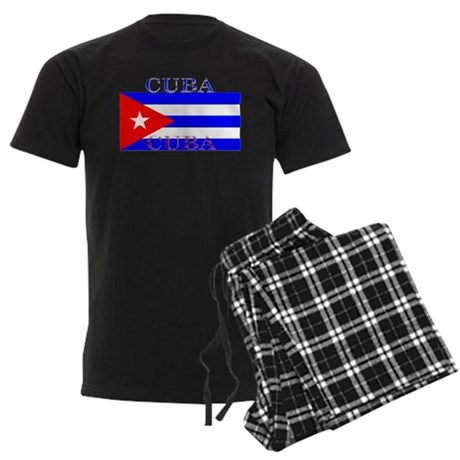 Cuba Cuban Flag Men's Dark Pajamas