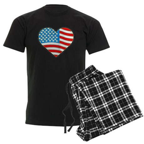 I Love America Flag Men's Dark Pajamas