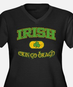 Irish Erin Go Bragh Women's Plus Size V-Neck Dark