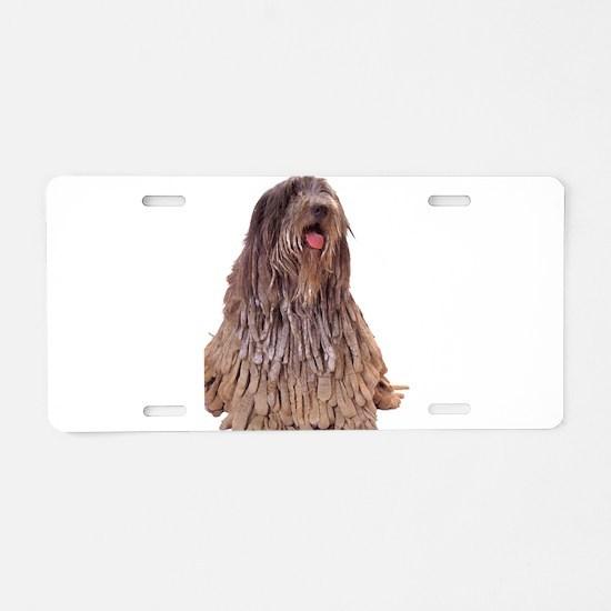 Bergamasco Sheepdog Sitting Aluminum License Plate