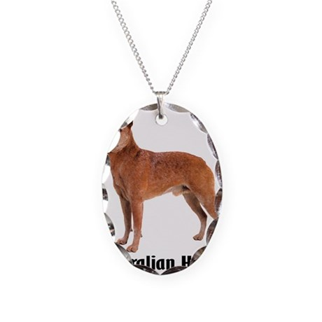 Australian Heeler Cattle Dog Necklace Oval Charm