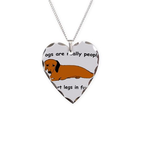 Dachshund Dogs Fur Coat Necklace Heart Charm