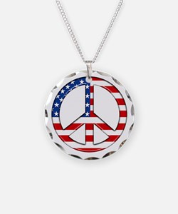Peace Sign Flag Necklace