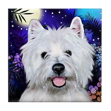 WEST HIGHLAND TERRIER DOG MOON Tile Coaster