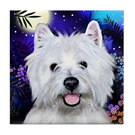 WEST HIGHLAND TERRIER DOG MOON Tile Coaster
