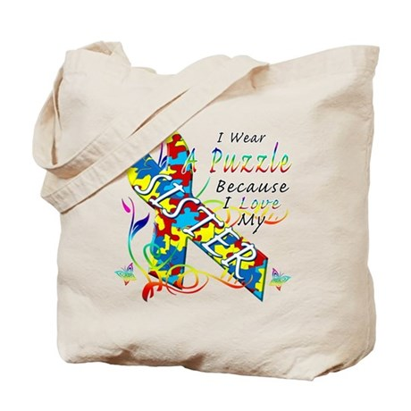 I Wear A Puzzle Because I Love My Sister Tote Bag
