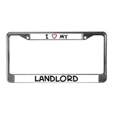 I Love Landlord License Plate Frame