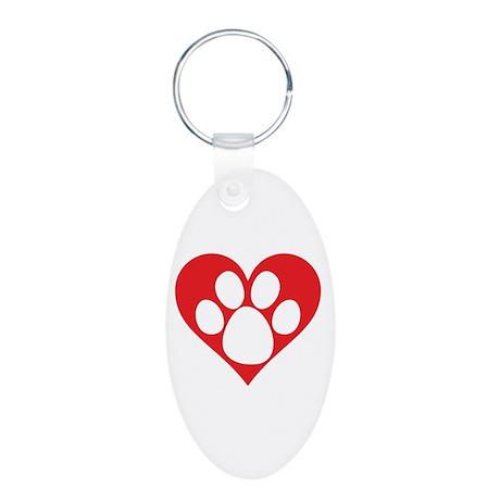 Heart Dog Paw Aluminum Oval Keychain