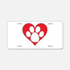 Heart Dog Paw Aluminum License Plate