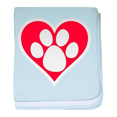 Heart Dog Paw baby blanket
