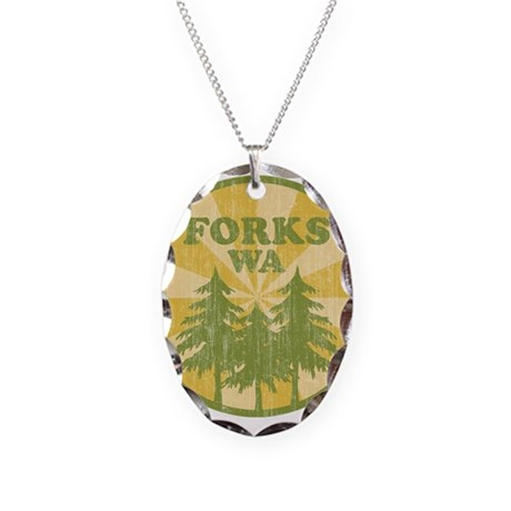 Forks, WA Necklace Oval Charm