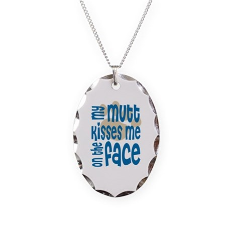 Dog Kisses & Mutt Lover Necklace Oval Charm