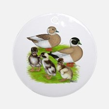 Penciled Call Duck Family Ornament (Round)