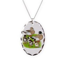 Penciled Call Duck Family Necklace