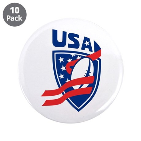 """American USA Rugby 3.5"""" Button (10 pack)"""