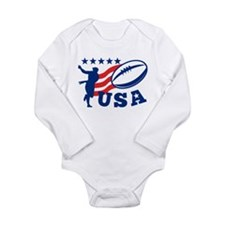 American USA Rugby Long Sleeve Infant Bodysuit